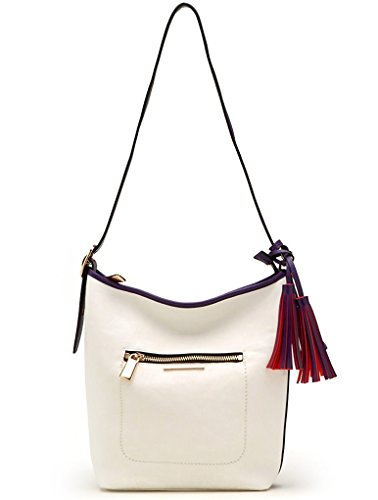 New Tosca USA White & Purple, 3-Compartment Shoulder Bag w/ Front Pocket