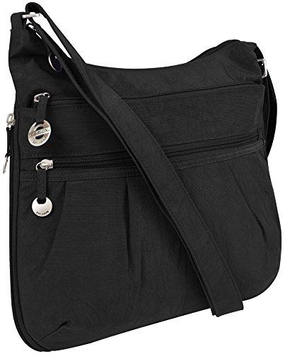 Travelon Crinkle Shoulder Bag with RFID Wallet – Black