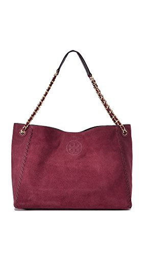 Tory Burch Women's Marion Suede Chain Shoulder Tote, Port, One Size