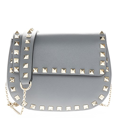Valentino Women's 'Rockstud' Rounded-Short Flap Smooth Bag on Gold Chain Strap Blue