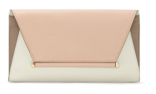 Vince Camuto Addy Bubble Leather Envelope Clutch Almond Mink/Garden Rose