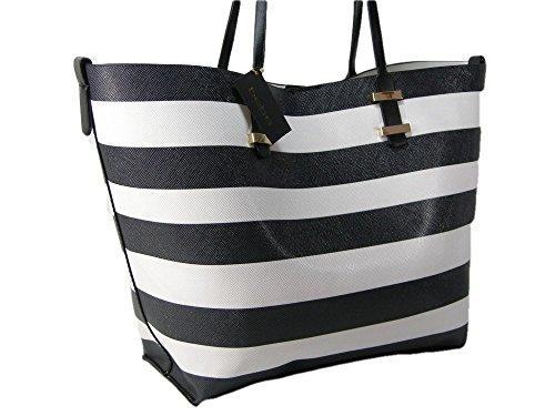 New BCBG Logo Paris XL Beach Tote Purse Hand Bag & Pouch Set 2 Piece Stripe