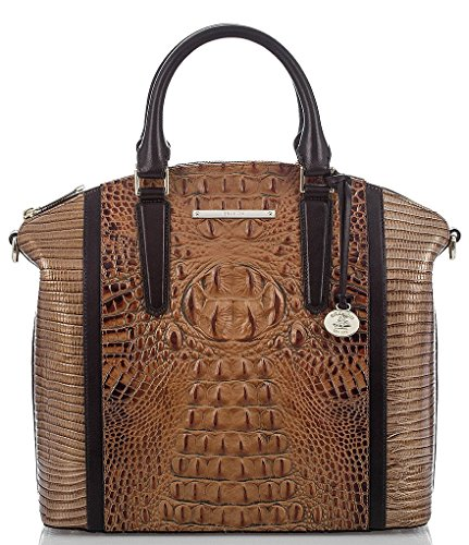 NEW AUTHENTIC BRAHMIN LARGE DUXBURY EMBOSSED LEATHER CARRYALL SATCHEL (Toasted Almond Bengal)