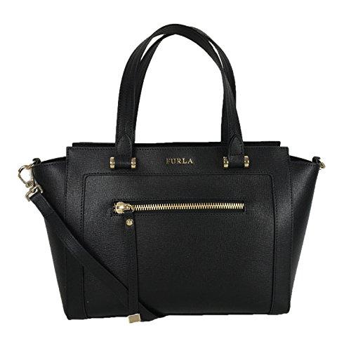 Furla Ginevra Crosshatched Leather Medium Satchel, Black