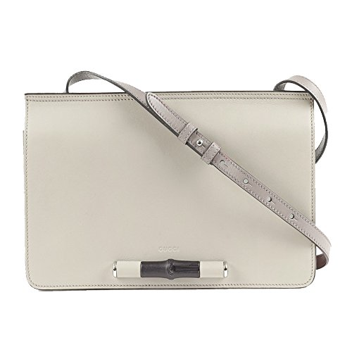 Gucci Lady Bamboo Leather Shoulder Handbag 370817 9072 (Off-White)