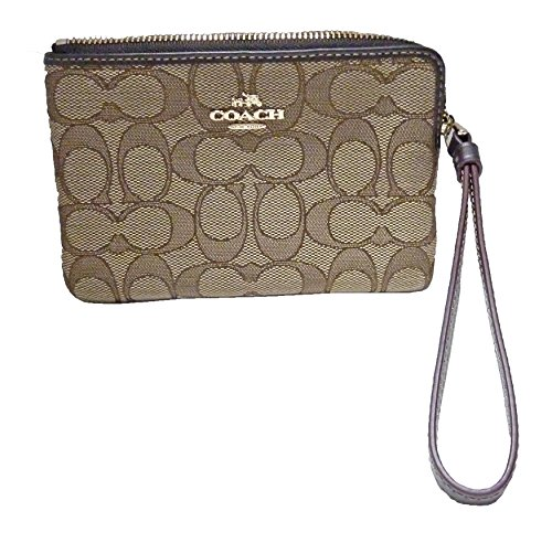 Coach F58033 Signature Corner Zip Wristlet Khaki/Brown
