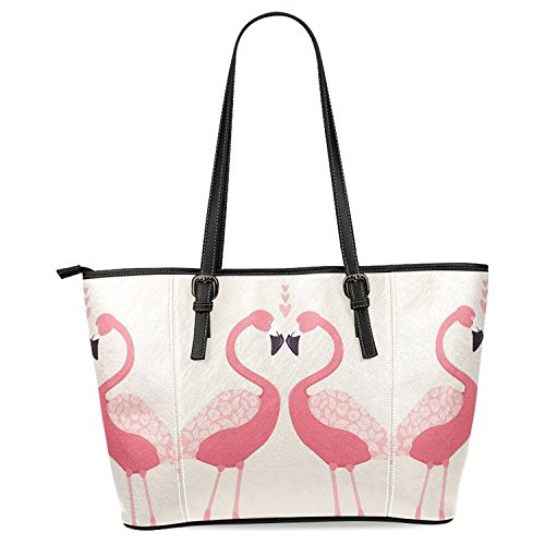 InterestPrint Flamingo Love Women's Leather Tote Shoulder Bags Handbags