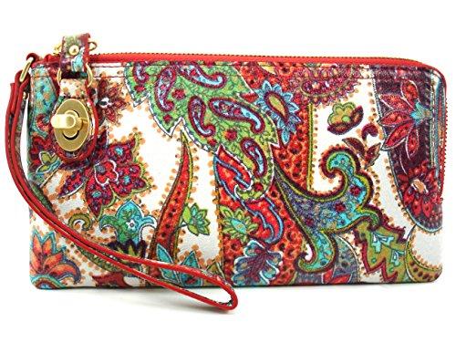 Hobo Mila Leather Regal Paisley L Zip Wallet Wristlet