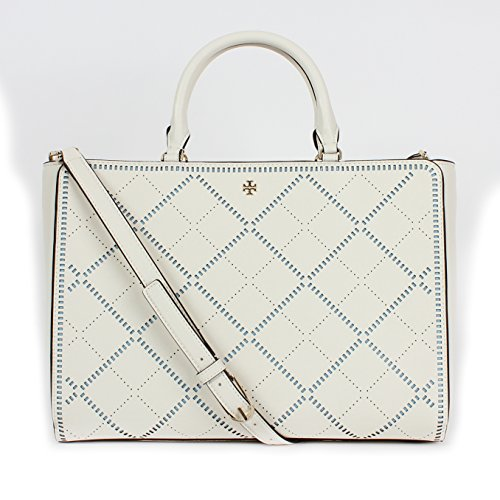 Tory Burch Robinson Crosshatch Large Zip Tote New Ivory/Riviera Blue