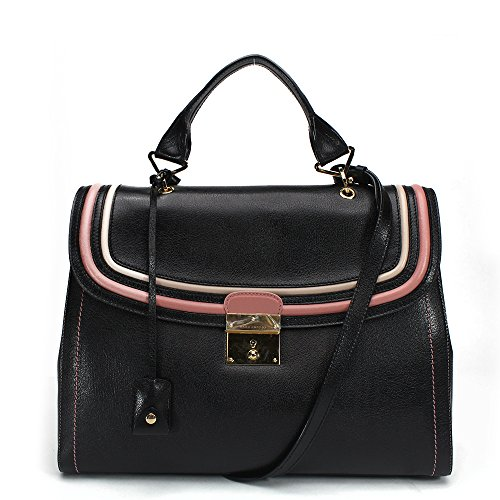 Marc Jacobs The 1984 Leather Satchel Bag, Black with Pale Gold