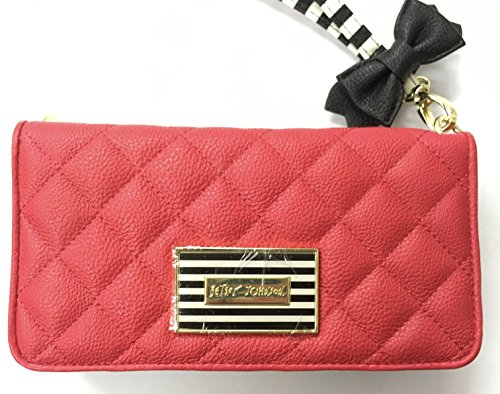 Betsey Johnson Wristlet Wallet Red & Black Multi Compartment Clutch
