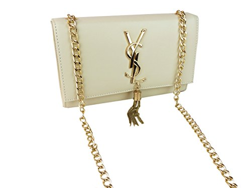 Ysl Beige Tasseled Night Bag with Dhl Express Delivery