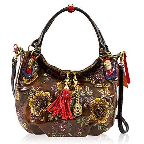 Marino Orlandi Italian Designer Brown Handpainted Leather Crossbody Handbag