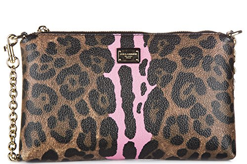 Dolce&Gabbana women's clutch handbag bag purse newcrespo leo brown
