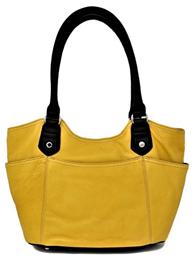 Tignanello Women Handbag Satchel W/Inner Divider Leather Yellow Color