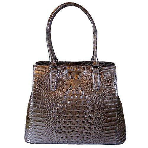 Brahmin Joan Tote Pewter Melbourne Croco Leather bag