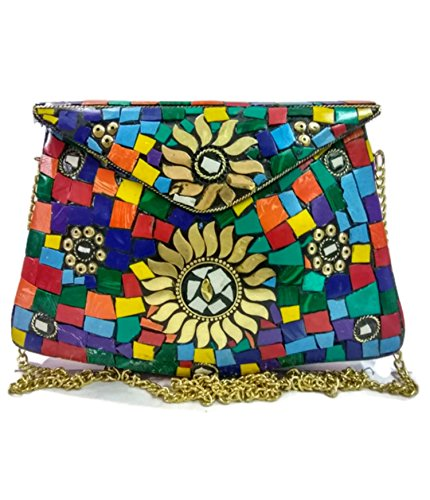Multi color stone clutch purse Handmade stylish vintage Mosaic Stone Ethnic Metal Clutch cum Sling Bag