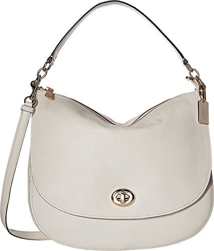 COACH Women's Pebbled Turnlock Hobo Chalk Handbag