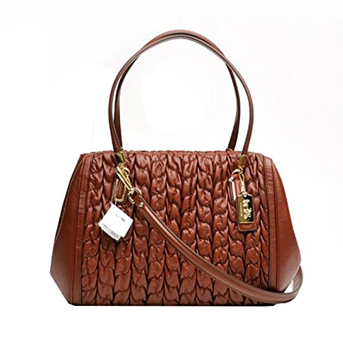 Coach Madison Gathered Chevron Leather Madelyn East West Tote 25985 Chestnut
