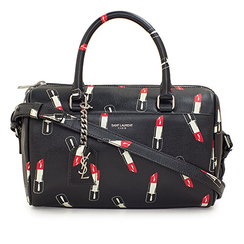 Saint Laurent Classic Sac Mini Baby Duffle Shoulder Bag Black Leather Lipstick Print Satchel Purse 400422