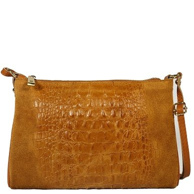 LUCCA Cognac Leather Clutch with Crocodile print, Italian design, Carelli Italia