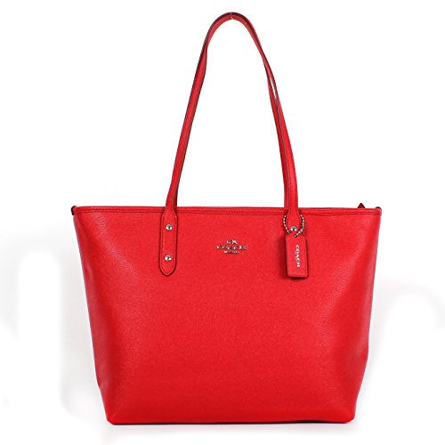 Coach Crossgrain Leather City Zip Tote F57522 Bright Red
