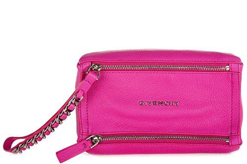 Givenchy women's leather clutch handbag bag purse pandora mini wristlet fucsia