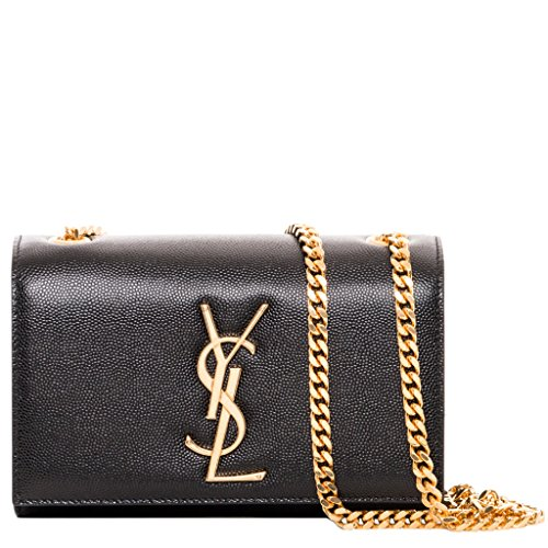 Saint Laurent Women's Small Monogram Textured Crossbody Black