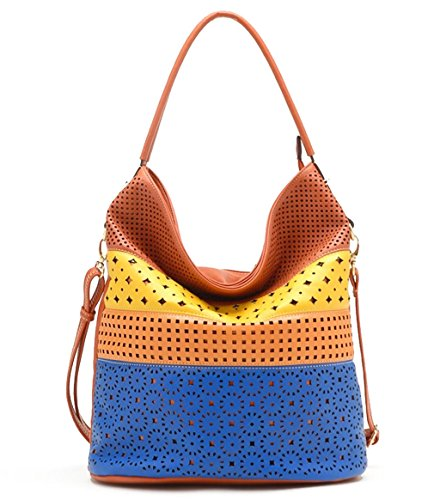 New Tosca USA, Large 4-Color Eyelet Bucket Tote w/ Strap- Orange Multi