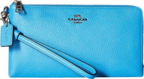 COACH Women's Double Zip Wallet SV/Azure Checkbook Wallet