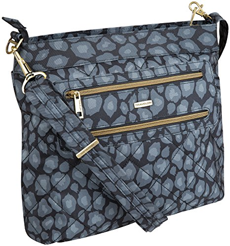 Travelon Anti-Theft Quilted 2 Zip Crossbody with RFID – Gray Leopard