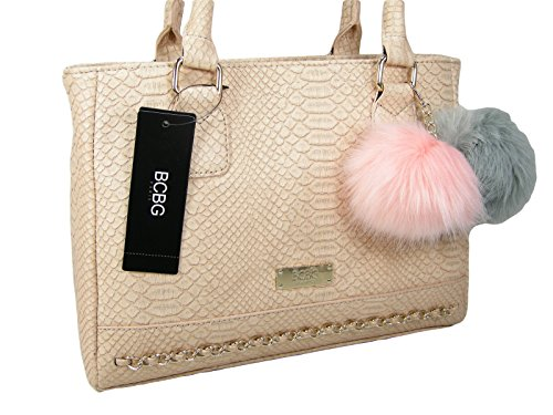 New BCBG Logo Paris Purse Satchel Hand Bag Blush Peach Crocodile/Snake Pom Pom