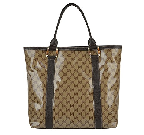 Gucci Bag 339547 Signature Crystal GG Guccissima Logo Bamboo Handles Shopper