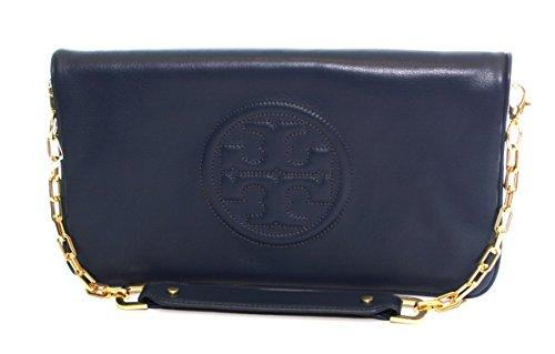 Tory Burch Reva Clutch Leather Chain TB Logo Hudson Bay Blue