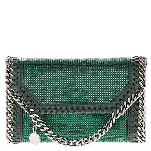 Stella McCartney Women's Green Crystal Embellished Mini Handbag with Chain Strap Green