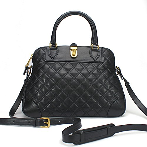Marc Jacobs Quilted Whitney Satchel Bag, Black with Brass