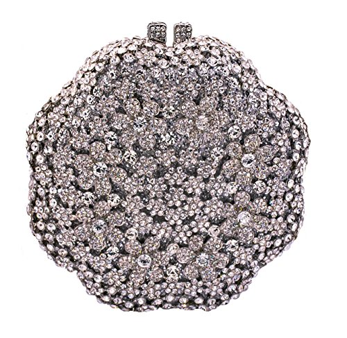 Celebrating You Flower Shaped Special Occasion Wedding Party Evening Bag Crystal Bridal Clutch Silver
