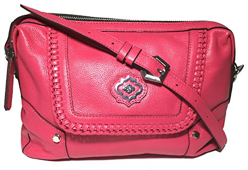 orYANY Pebble Leather Lacy Crossbody w/Whipstitch Detail, Pink
