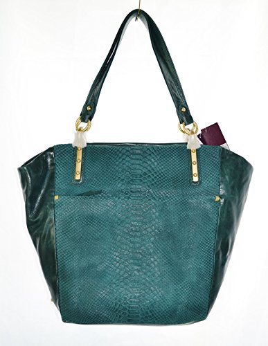 Elliott Lucca intreccio leather large tote, python teal shoulder bag