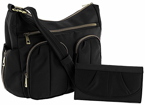 Travelon Anti-Theft Twin Pocket Bucket Bag – Black
