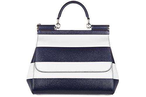 Dolce&Gabbana women's leather handbag shopping bag purse sicily white