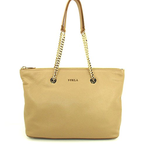 Furla Leather Chain Link Top zip Tote Luna Beige Nude