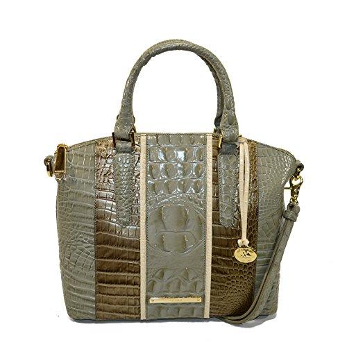 Brahmin Duxbury Satchel Silver Sage Tarama Croco Emb Leather