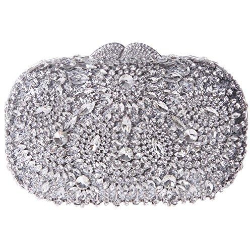 Fawziya Rotating Flower Purses For Women Luxury Rhinestone Crystal Clutch Bag-Silver