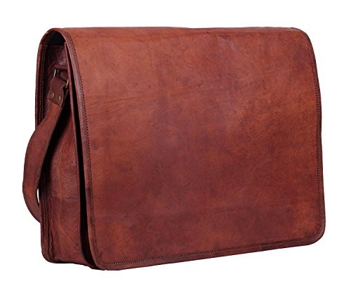 Unisex Cross Shoulder Full Flap Laptop Leather Messenger Bag Satchel Dark Brown
