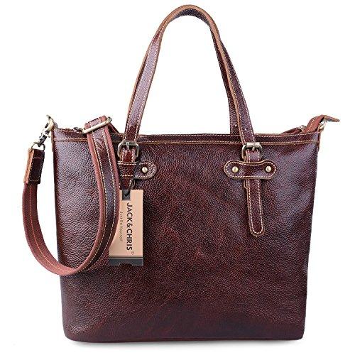 Jack&ChrisWomen's Leather Handbags Shoulder Tote Bag,WBZP034