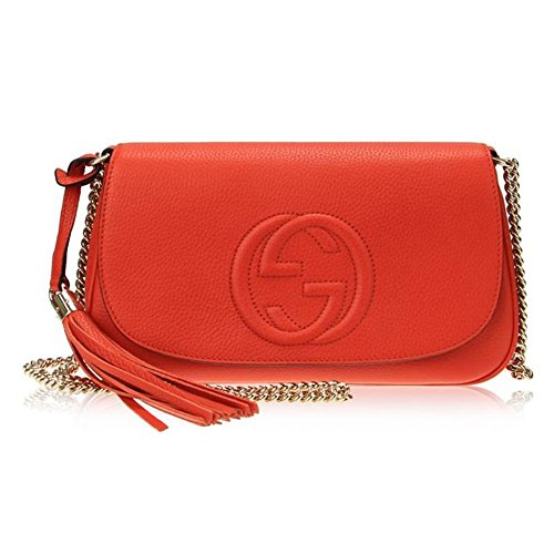 Gucci Disco Interlocking G Leather Chain Tassel Shoulder Bag 336752 7527 Orange
