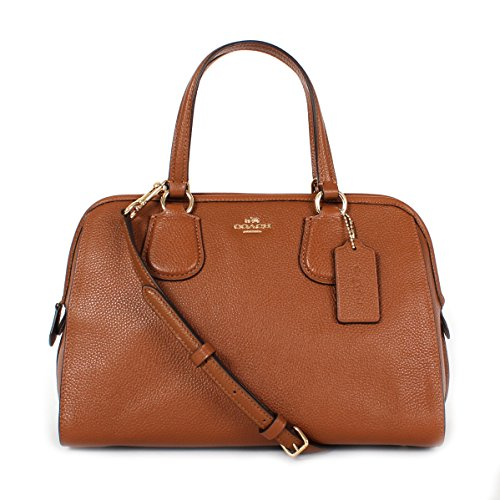COACH Pebbled Leather Nolita Satchel Shoulder Bag 59180E Li/Saddle