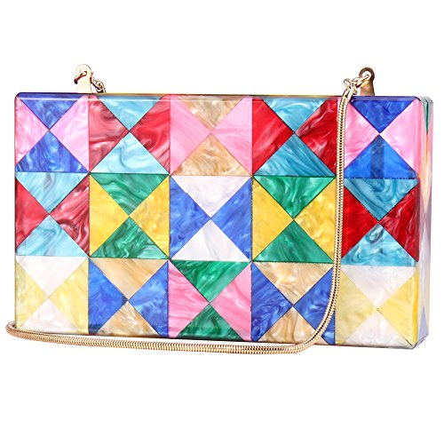 Women Colorful Evening Handbag Acrylic Clutch Purses Crossbody Gold Chain Bag
