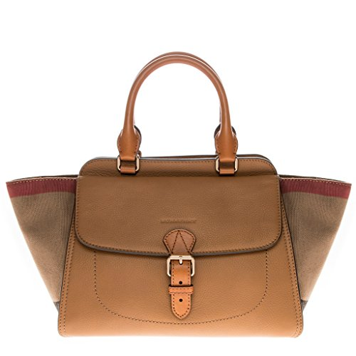 Burberry Women's Medium Canvas Check and Leather Tote Bag Saddle Brown